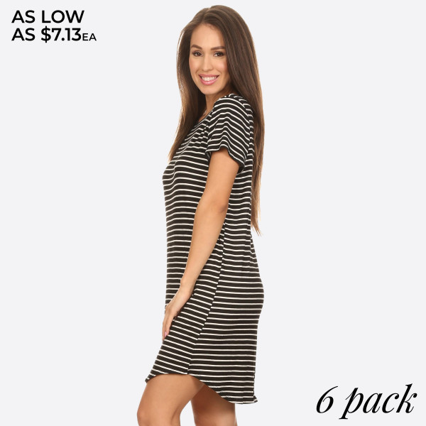 "This comfy tunic T-Shirt dress is perfect as a casual summer dress or a cozy winter dress when paired with leggings. Features soft and stretchy knit t-shirt fabric, unlined, and a curved hemline cut. Striped tunic T-Shirt dresses are always popular year round.   - Scoop Neckline  - Short Sleeve  - Curved Hemline  - Closure Style: Pullover  - Rayon/Spandex  - Machine wash, lay flat to dry  - IMPORTED   Approximately 36"" long.  Content: 96% Rayon, 4% Spandex   Pack Breakdown: 6pcs/pack. 2S: 2M: 2L"