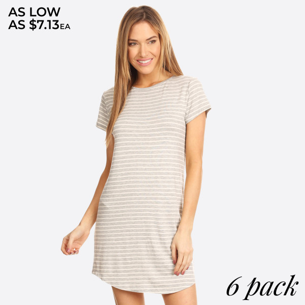 "Striped short sleeve tunic dress. Approximately 34"" in length.  - Scoop Neckline  - Short Sleeve  - Curved Hemline  - Closure Style: Pullover  - Rayon/Spandex  - Machine wash, lay flat to dry  - IMPORTED   - Pack Breakdown: 6pcs / pack  - Sizes: 2S / 2M / 2L  - Content: 96% Rayon, 4% Spandex"