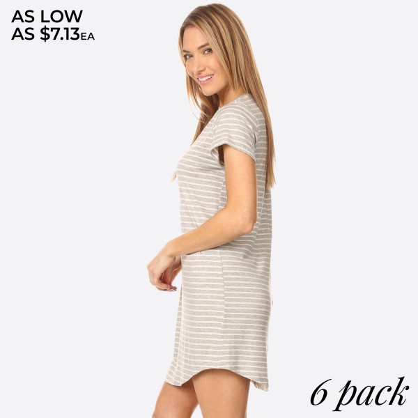 Comfy Tunic T-Shirt Dress is perfect to wear as a sexy casual day summer dress or pair it with leggings for a more cozy look. Soft stretchy knit t-shirt fabric unlined with a Curved hemline cut. Striped Tunic T-Shirt Dresses are always very popular all year round.   • Scoop Neckline  • Short Sleeve  • Curved Hemline  • Closure Style: Pullover  • Rayon/Spandex  • Machine wash, lay flat to dry  • IMPORTED   Content: 96% Rayon, 4% Spandex   Pack Breakdown: 6pcs/pack. 2S: 2M: 2L