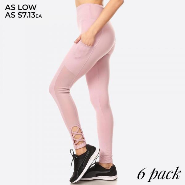 Wholesale women s Ultimate Tummy Control Leggings Side Pocket Strap Details Soli