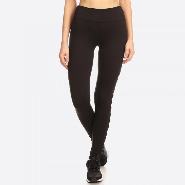 Women's Activewear Leggings With Contrast Mesh & Criss Cross Side Panels. Solid, Knit Active Leggings Sports Pants with an Elastic Waistband, Side Panels contrast mesh and Crossed Strap Accent.    SIZE:S-M-L-XL (1-2-2-1) PACKAGE:6PCS/PREPACK SOLID: 92%POLYESTER 8%SPANDEX MESH:90%POLYESTER 10%SPANDEX MADE IN CHINA