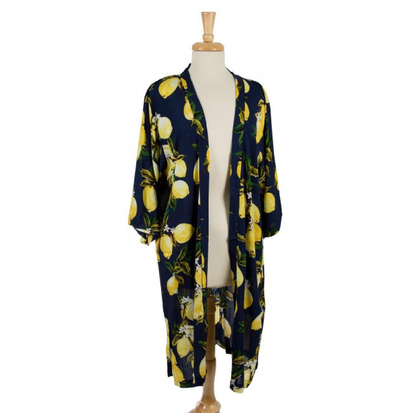Lightweight, long kimono with a lemon print. 100% viscose. One size fits most.