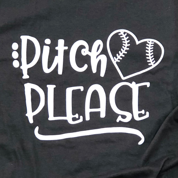 PITCH PLEASE - Short Sleeve Boutique Graphic Tee. These t-shirts are sold in a 6 pack. S:1 M:2 L:2 XL:1 35% Cotton 65% Polyester Brand: Anvil