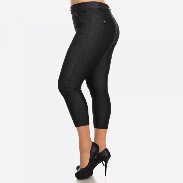 The Original is your standard 5 pocket jean Capri jegging. With classic silhouette construction, the Original is smooth, stretchy, and fits like a glove. There are also rhinestones pocketing and button embellishment highlighting the look and feel.   • Capri jeggings featuring a light sheen and jean-style construction  • Lightweight, breathable cotton-blend material for all day comfort  • Belt loops with 5 functional pockets  • Decorative, non-functional rhinestone button and fly with rivet details  • Super Stretchy  • Pull up Style   Composition: 68% Cotton, 27% Polyester, 5% Spandex.   Pack Breakdown: 6pcs/pack. 2-XL: 2-XXL: 2-XXXL