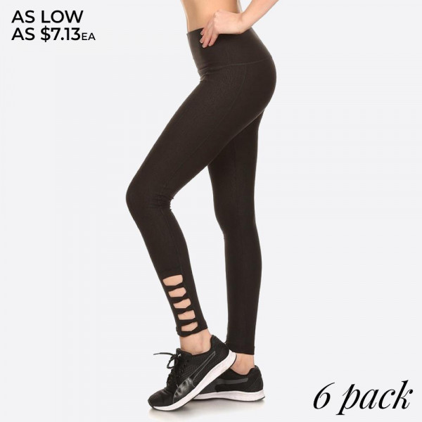 EMBOSSED ABSTRACT PRINT, FULL LENGTH FITTED ACTIVEWEAR STYLE PANTS WITH HIGH BANDED WAIST AND SIDE ANKLE CROSS STRAP DETAIL CUTOUTS.   SIZE: S-M-L-XL (1-2-2-1) PACKAGE:6PCS/PREPACK 94% POLYESTER 6% SPANDEX