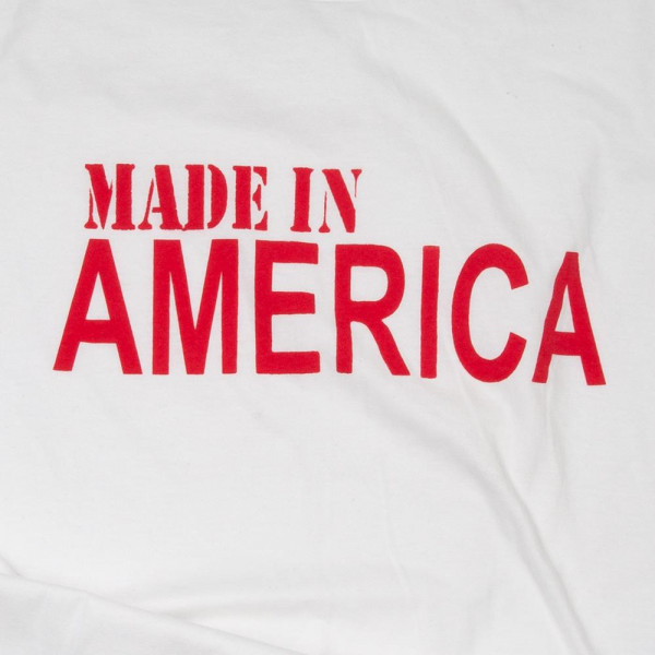 """""""Made In America"""" Short Sleeve Boutique Graphic Tee. These t-shirts are sold in a 6 pack. S:1 M:2 L:2 XL:1 35% Cotton 65% Polyester Brand: Anvil"""