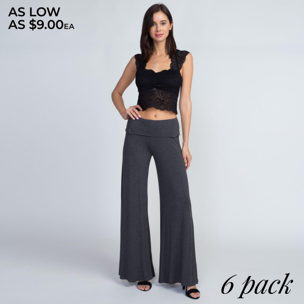 Ease into a relaxing weekend by slipping into these comfy, cozy pants featuring a fold-over waistband and wide leg silhouette.   • Mid rise foldable waistband  • Wide leg silhouette  • Soft and stretchy  • Relaxed fit  • Pull on/off styling  • Imported   Composition:   Pack Breakdown: 6pcs/pack. 2S: 2M: 2L