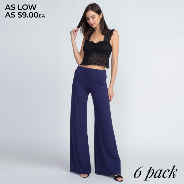 Ease into a relaxing weekend by slipping into these comfy, cozy pants featuring a fold-over waistband and wide leg silhouette. 95% Rayon 5% Spandex.