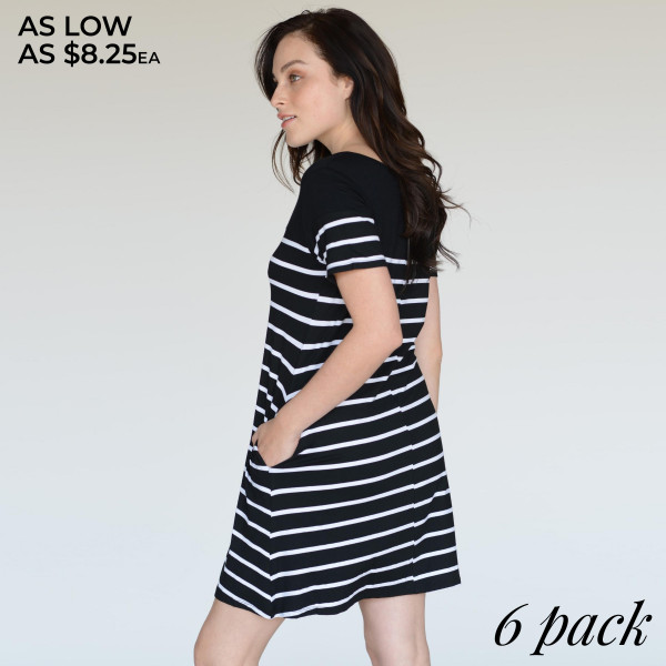 Go from work to play in this versatile striped dress this season. Carry all your must-haves in the two convenient side pockets, so you can truly be hands free. Perfect the cool-weather look layering with a denim jacket and wedges.   • Short sleeves, round neck  • Striped pattern throughout  • Two open side pockets holds keys/cash/phone  • Knee length swing hem  • Very soft, stretchy  • Pull over styling  • Imported   Content: 95% Rayon, 5% Spandex   Pack Breakdown: 6pcs/pack. 2S: 2M: 2L