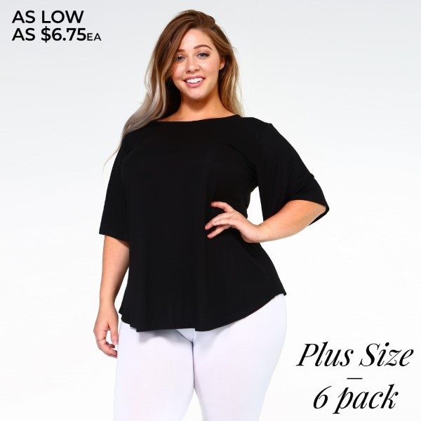 Show up to your next Summer party in this stylish staple featuring short bell sleeves, a crew-neck, and a relaxed fit. The soft, stretch knit fabric is breathable and lightweight making it comfortable for all day wear. Complete the look with a sleek pair of leggings or your favorite denim with heels.   • Crew-neck  • Short sleeves  • Loose-fit bodice  • Pullover styling  • Curved hemline  • Super soft  • Imported    Breakdown: 6pcs / pack  Sizes: 2-XL / 2-1X / 2-2X  Composition: 95% Rayon 5% Spandex