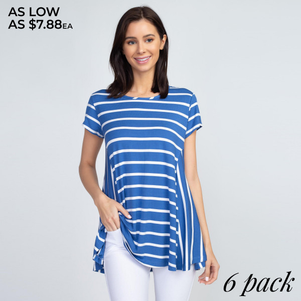 Casual days call for cute and comfy pieces like this! Stretchy, soft, short sleeve top featuring a stylish multi-striped pattern and a relaxed hem perfect for layering with leggings or jeans.   • Short sleeves, round neckline  • Relaxed hem  • Striped pattern  • Soft, stretchy, lightweight  • Imported   Content: 95% Rayon, 5% Spandex   Pack Breakdown: 6pcs/pack. 2S: 2M: 2L