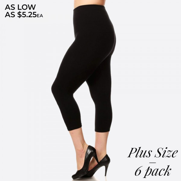 These plus sized high waisted compression capri leggings have a compression control top that flattens your tummy and contours your waistline for an hourglass silhouette. 