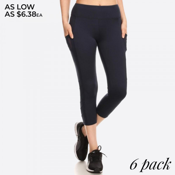 CAPRI LENGTH SPORT LEGGING WITH MESH PANELS WITH ELASTIC WAISTBAND AND OVERLOCK STITCHING DETAIL.   SIZE:S-M-L-XL (1-2-2-1) PACKAGE:6PCS/PREPACK 96% POLYESTER, 4% SPANDEX,  MESH: 90%POLYESTER, 10%SPANDEX