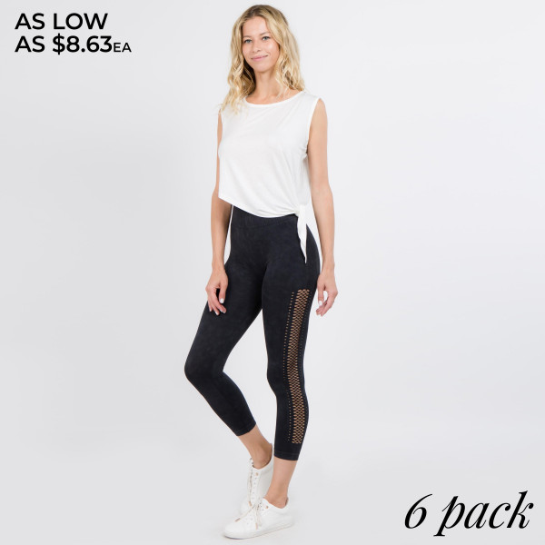 Casual yet very stylish! These Capri leggings will be the staple piece to your outfit no matter the occasion. Wear with a plain tee for a casual look or hit the gym in them!   • Long, skinny leg design  • Side Mesh Detailing  • Comfortable Elastic Waistband • Pull-on styling  • Cotton/Polyester  • Machine Wash Warm with similar colors using Gentle Cycle.   Composition: 92% Nylon, 8% Spandex   Pack Breakdown: 6pcs/pack. 2SM: 2ML: 2LXL