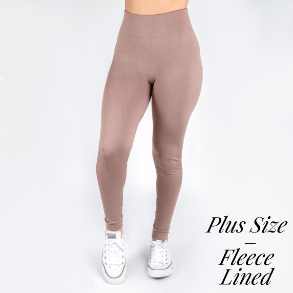 """New Mix brand Plus Size women's solid color full length fleece lined seamless leggings.  - One size fits most 14-20 - Size suggestions are approximate - Fit depends on height and body shape - Inseam approximately 27"""" in length - 92% Nylon, 8% Spandex"""