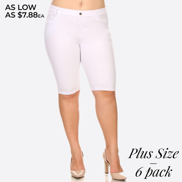 These Bermuda Jeggings are styled to resemble a pair of jeans. Get both comfort and style!   • Bermuda length jeggings featuring a light sheen and jean-style construction  • Lightweight, breathable cotton-blend material for all day comfort  • Belt loops with 5 functional pockets  • Super Stretchy  • Pull up Style   Composition: 68% Cotton, 27% Polyester, 5% Spandex.   Pack Breakdown: 6pcs/pack. 2XL: 2XXL: 2XXXL