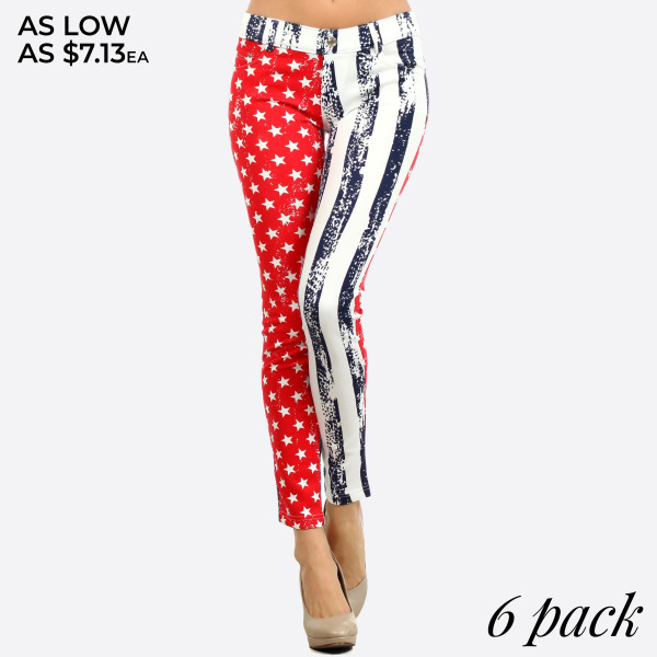 American flag Jeggings. This style is a 5 pkt jegging with the American Flag. It has belt loops at waist.   *Jean like Jeggings  *5 Pockets  *Button Embellishment  *Skinny Leg Design  *Super Stretchy   Composition: Polyester 90%, Spandex 10%   Pack Breakdown: 6pcs/pack. 2S/M: 2M/L: 2L/XL