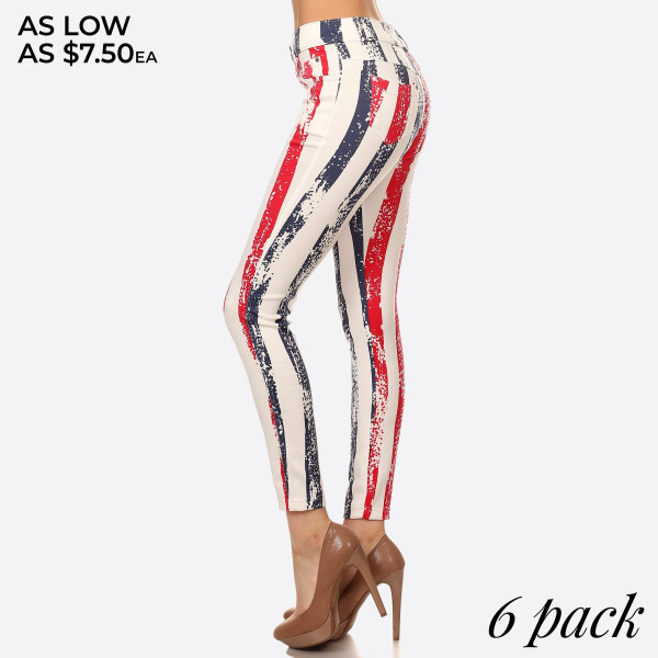 All Stripe American Flag Jeggings. This style is a 5 pocket jegging with all over stripe American Flag Print. It has belt loops at waist.   *Jean like Jeggings  *5 Pockets  *Button Embellishment  *Skinny Leg Design  *Super Stretchy   Composition: Polyester: 68% Cotton, 27% Polyester, 5% Spandex   Pack Breakdown: 6pcs/pack. 2S/M: 2M/L: 2L/XL