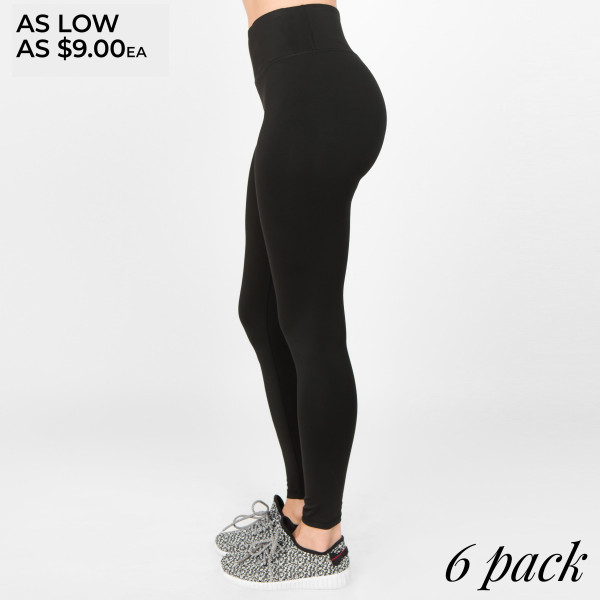 Feeling good and looking good on and off the mat matter, which is why these Active Wear Leggings are a favorite. Features Women's ankle-length active leggings. 4-way-stretch fabric for a move-with-you-feel adds support and comfort. Moisture-wicking fabric to keep you cool as things heat up. Elasticized tummy-flattening waistband with interior hidden pocket and flat-lock seams help prevent chafing.   • 4-way-stretch fabric for a move-with-you feel  • Tummy-flattening waistband with interior hidden pocket  • Flat-locked seaming for extra comfort  • Ankle-length   Composition: 75% Nylon, 25% Spandex   Pack Breakdown: 6pcs/pack. 2S: 2M: 2L