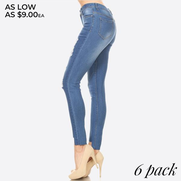 Women's Classic Distressed Skinny Jeggings. These jeggings are styled to resemble a pair of jeans. Get both comfort and style!  • Super Stretchy  • Pull up Style  Composition: 76% Cotton, 22% Polyester, 2% Spandex  Pack Breakdown: 6pcs/pack.1S: 2M: 2L: 1XL