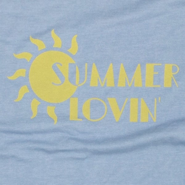 SUMMER LOVIN - Short Sleeve Boutique Graphic Tee. These t-shirts are sold in a 6 pack. S:1 M:2 L:2 XL:1 52% Cotton and 48% Polyester Brand: Bella Canvas