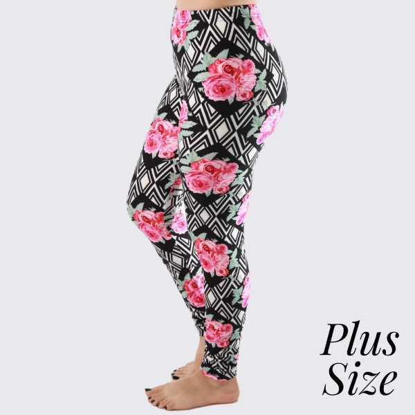 """PLUS SIZE - New Kathy / New Mix printed peach skin leggings are seamless, chic, and a must-have for every wardrobe. These lightweight, full-length leggings have a 1"""" waistband. They are versatile, perfect for layering, and available in many unique prints. 92% Polyester and 8% Spandex. One size, fits US women's 16-20."""