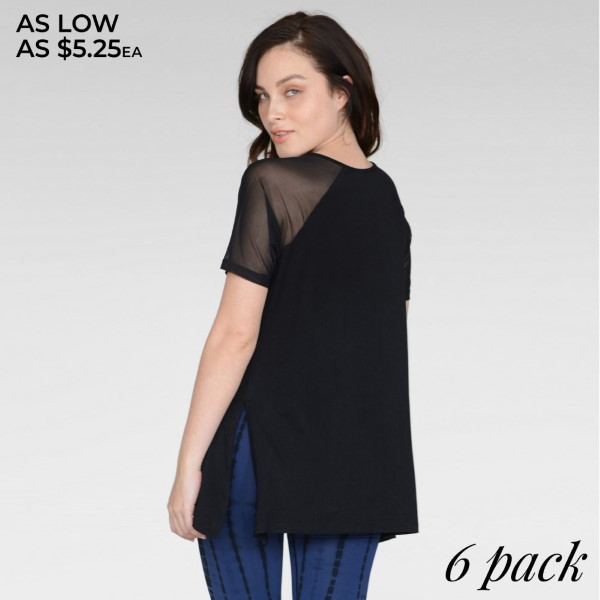 Our Women's Athleisure Mesh Sleeve Top is well-crafted with a flattering cut, sleek mesh & ultra-soft stretchy knit for maximum comfort. It's perfect for morning jogs, gym sessions and more.   • Scoop-neck  • Side slits at hem  • Mesh Sleeves  • Relax Fit  • Super Soft  • Stretchy  • Imported   Content: 95% Rayon, 5% Spandex   Pack Breakdown: 6pcs/pack. 2S: 2M: 2L