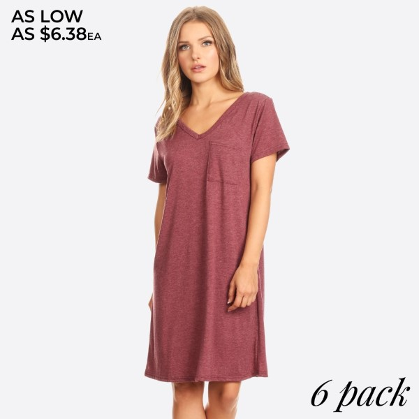 Cross Back V-Neck Pocket T-Shirt Dress for Women - Comfortable Casual Flowy Swing Style.   • Soft and comfortable rayon blend knit in a shift silhouette  • Elongating v-neckline flatters neck and showcases collarbone  • Front patch pocket and cross back strappy detail adds a unique touch  • Short sleeves perfect for warm weather, great to wear as a swimsuit cover up  • Relaxed loose fit, pullover styling   Content: 87% polyester, 10% rayon, 3% spandex   Pack Breakdown: 6pcs/pack. 2S: 2M: 2L
