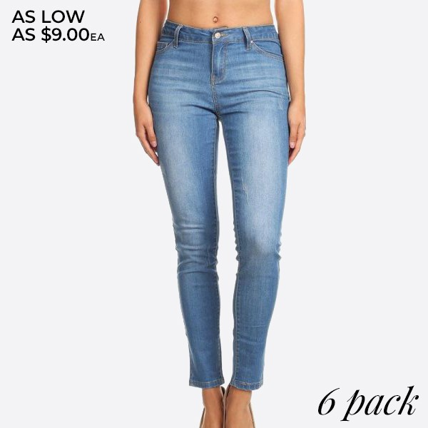 Denim, high waisted skinny jeans in a fit style, with a button/zipper closure, pockets, and slight rips.  Composition: 76% Cotton, 22% Polyester, 2% Spandex  Pack Breakdown: 6pcs/pack. 2S: 2M: 2L
