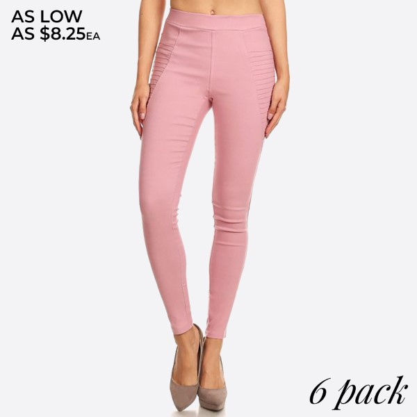 60% Cotton; 35% Polyester; 5% Spandex -Comfortable elastizied waistline providing all around ease & roominess, never too tight or restrictive -Premium quality lightweight cotton fabric; Easy stretch and shape retention ability; Sure to make room for you -Flattering skinny and legging-like fit; Pleated detail; Semi high waisted as they reach the natural waist line -A mush-have everyday wardrobe necessity combing style and comfort; A versatile piece that will serve you well for all seasons  Pack Breakdown: 2-S, 2-M, and 2-L