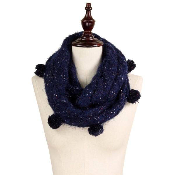 """Multi color knit pompom infinity scarf. 100% acrylic. Size: 7.5""""W x 25.5""""L"""