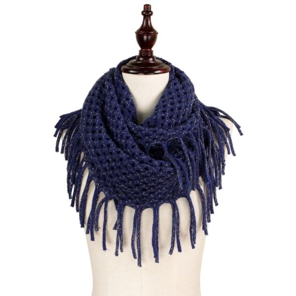Lurex mix knit infinity scarf. 100% acrylic.