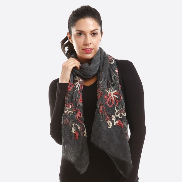 Lightweight embroidered scarf. 100% polyester.
