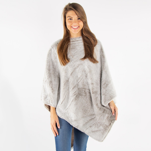 Two tone faux fur poncho.  - One size fits most 0-14 - 100% Polyester