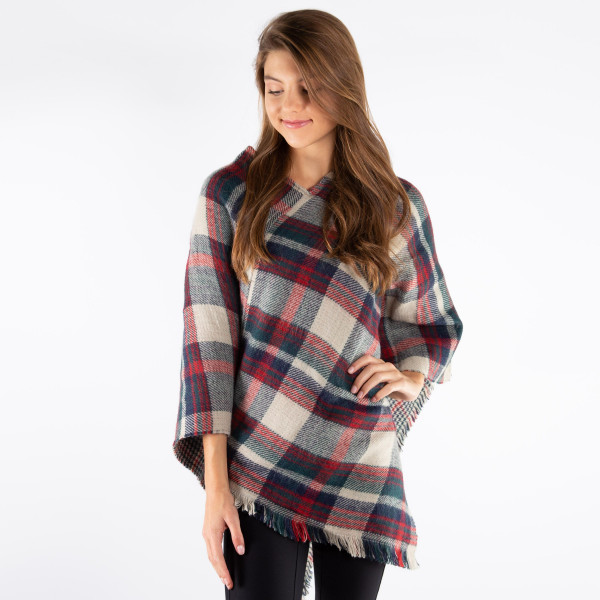 "Plaid print poncho with frayed edges.  - One size fits most 0-14 - Approximately 36"" in length  - 100% Acrylic"