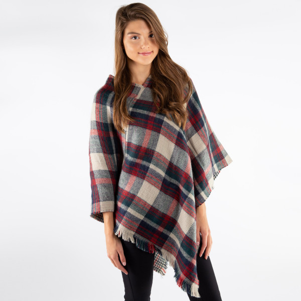 Plaid poncho. 100% acrylic. One size fits most.