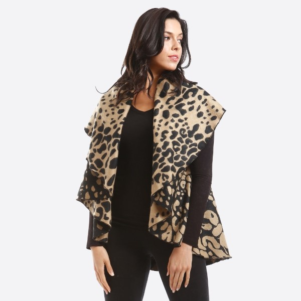 Leopard print shawl vest. 100% acrylic.   One size fits most.