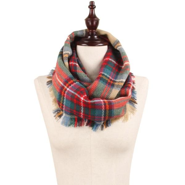 """Woven plaid infinity scarf. 100% acrylic.   13.5""""W x 31.5""""L"""