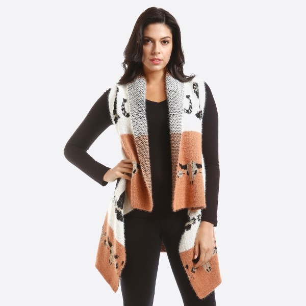 Mohair vest with western print.    - One size fits most 0-14 - 100% Acrylic