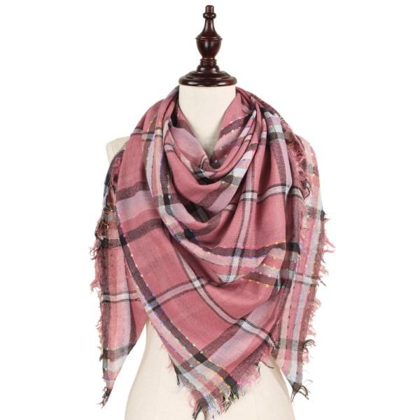 "Plaid square scarf. 100% polyester.   51""W x 51""L"