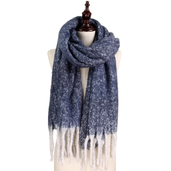 """Brushed two-tone scarf. 50% acrylic and 50% polyester.   19.5""""W x 70.5""""L"""