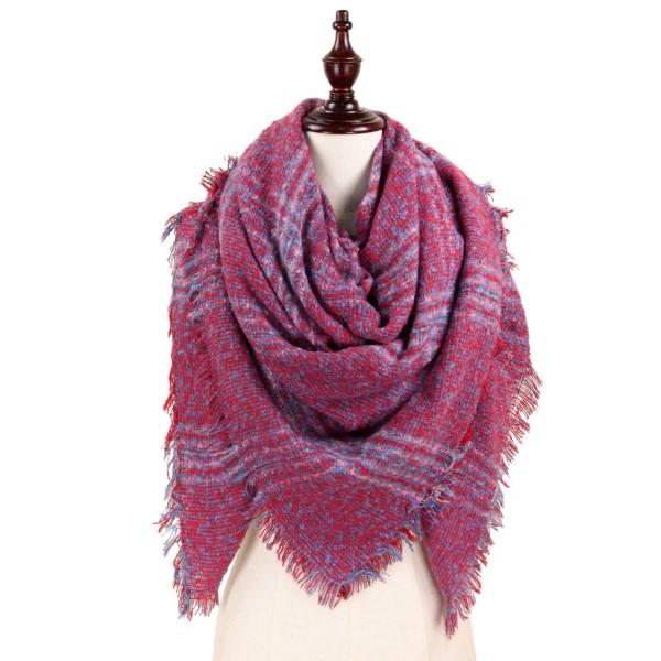 Plaid blanket scarf. 100% polyester.