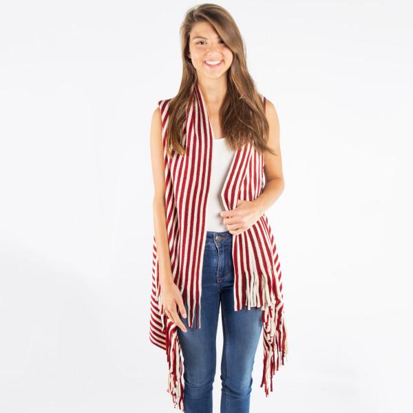 Stripe knit vest. 100% acrylic. One size fits most.