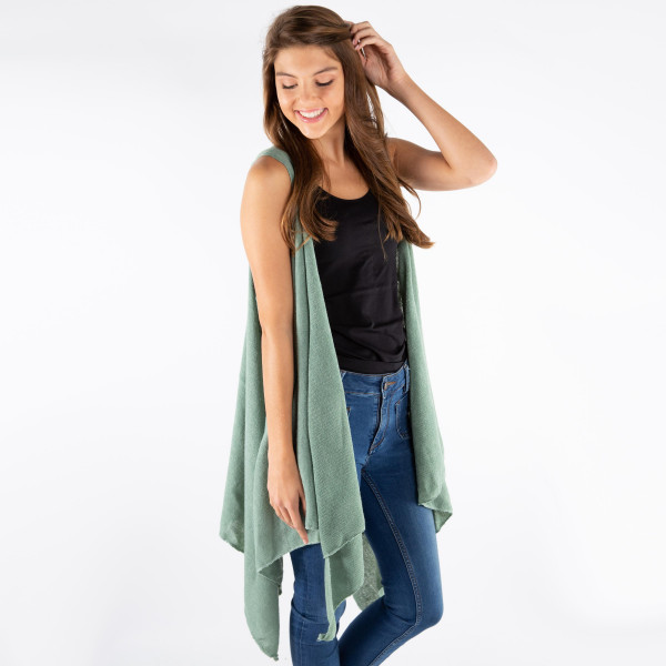 Lightweight solid color vest. 100% polyester.  One size fits most.