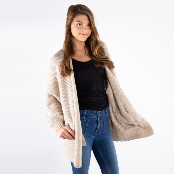 Oversized long line cardigan with front pockets.   One size fits most.