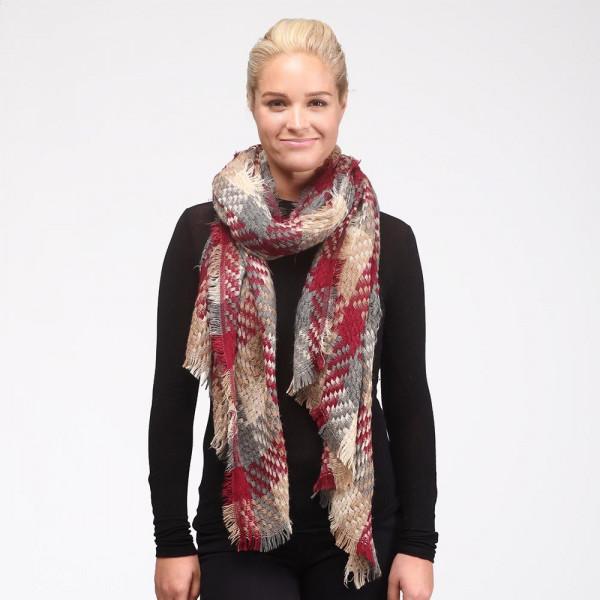 Thick knit plaid scarf. 100% acrylic.