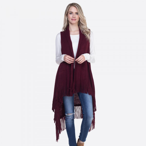 Long line vest with fringe. 100% acrylic.   One size fits most.