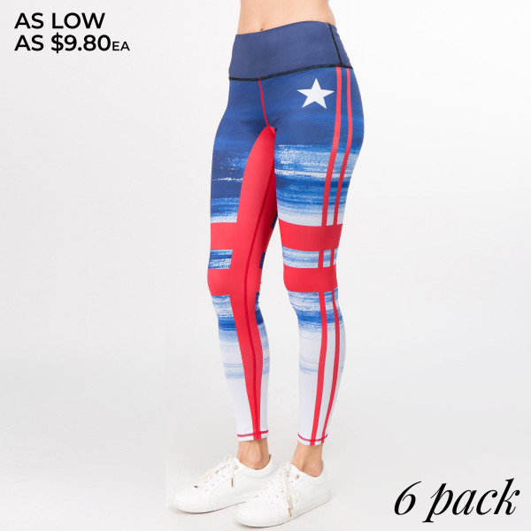 These leggings will have you racing outta bed and pedaling away in spin class! Featuring a vintage-inspired graphic print along a skinny leg design and 4-way stretch fabric that fits your body like a glove. Get extra motivated wearing these leggings to exercise or celebrate your USA pride in athleisure comfort!   • Slim, flat waistband w/ inside hidden pocket  • Unique graphic detailing  • Flat lock stitched seams provide durability, chafe-free wear  • Body-hugging fit  • Soft, stretchy comfort knit fabric  • Full length  • Imported   Composition: 46% Polyester, 41% Nylon, 13% Spandex   Pack Breakdown: 6pcs/pack. 2S: 2M: 2L