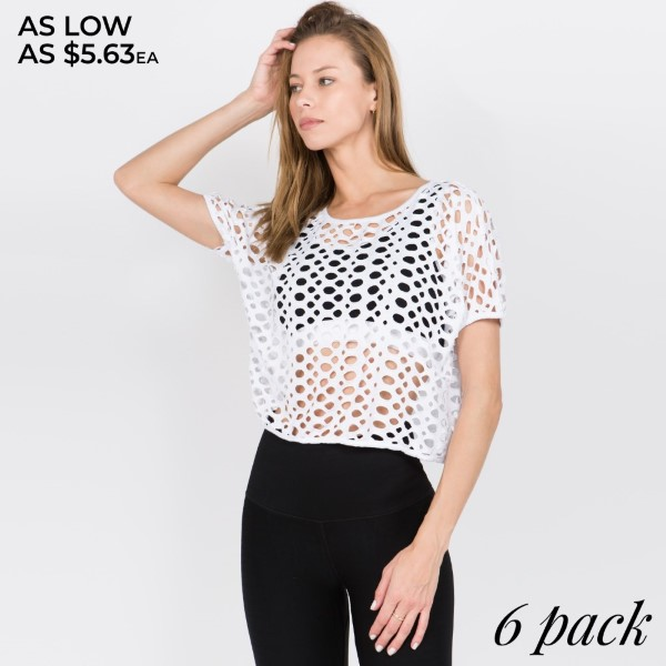 Circular hole patterns complete this edgy top.   • Short Sleeve  • Circular Hole Pattern  • Pullover Style  • Loose Fit  • Machine Wash Cold. Lay Flat To Dry.  • Import   Composition: 37% Rayon, 62.6% Polyester, 0.4% Spandex   Pack Breakdown: 6pcs/pack. 2S: 2M: 2L