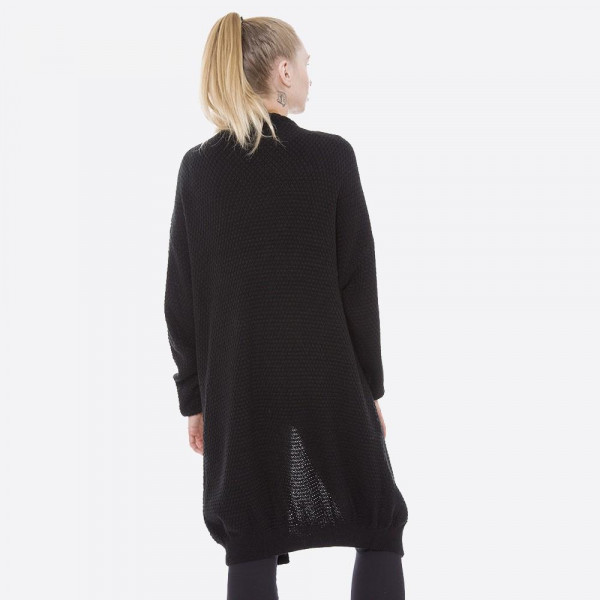 Cable knit, long sleeve cardigan with two front pockets. 100% acrylic.